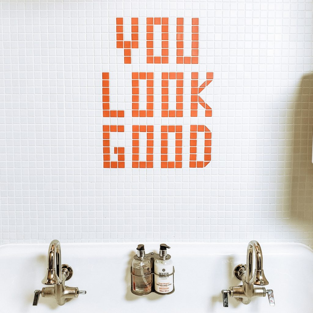 """You Look Good"" Tiles at Hancock GR"